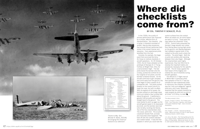 Where did checklists come from? > Air Combat Command