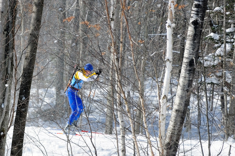 Senior Master Sgt. Jeffrey Soja of the 202nd Weather Flight, Otis Air National Guard Base, Mass., skis the designated course during the National Championships at the Camp Ethan Allen Training Site (CEATS) in Jericho, Vermont. (National Guard photo by Tech. Sgt. Kerri Cole/Released)