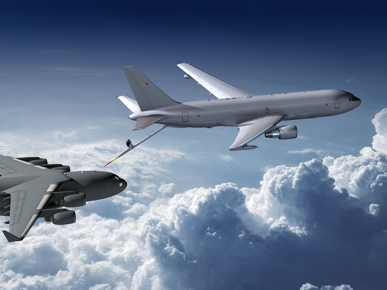A graphic depiction of a KC-46A refueling a C-17 Galaxy. (USAF courtesy photo)