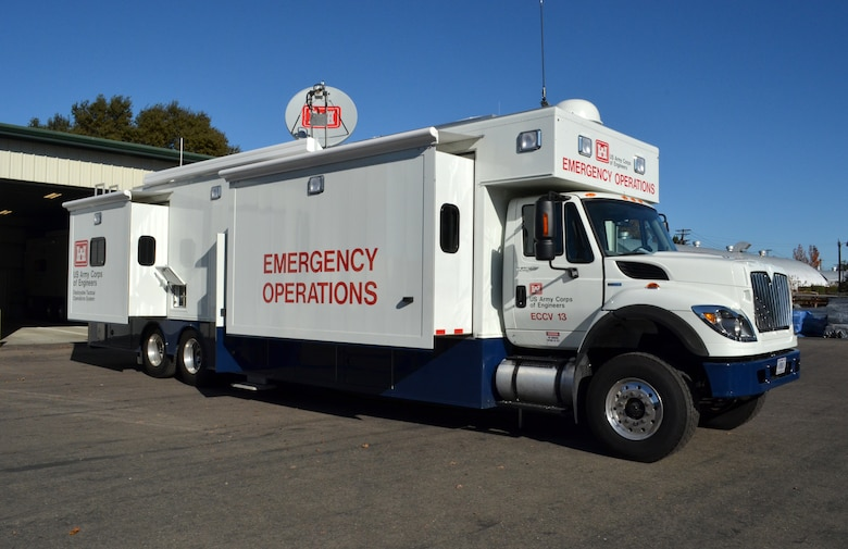 One of three new emergency command and control vehicle sits at a U.S. Army Corps of Engineers Sacramento District facility in West Sacramento, Calif., Nov. 30, 2011. All three ECCVs were received at the Sacramento District in early November 2011. The vehicles are part of the Corps' deployable tactical operations system, designed to provide mobile command and communications centers that support the quick ramp-up of initial emergency response missions for the Corps. (U.S. Army photo by Carlos J. Lazo/Released)