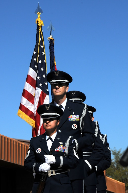 161st Air Refueling Wing honor guard bring in the colors during a memorial ceremony dedicating a KC-135 Stratotanker tail and plaque March 13, 2012, at the 161st Air Refueling Wing, Phoenix. The memorial ceremony marked the 30th anniversary when four 161st Air Refueling Group servicemembers lost their lives while on-duty. (Photo by Staff Sgt. Michael Matkin/Released)