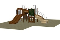 Pictured is a concept design of a new playground to be built by summer in the backyard of the Fisher House, Dover Air Force Base, Del. (Courtesy image)