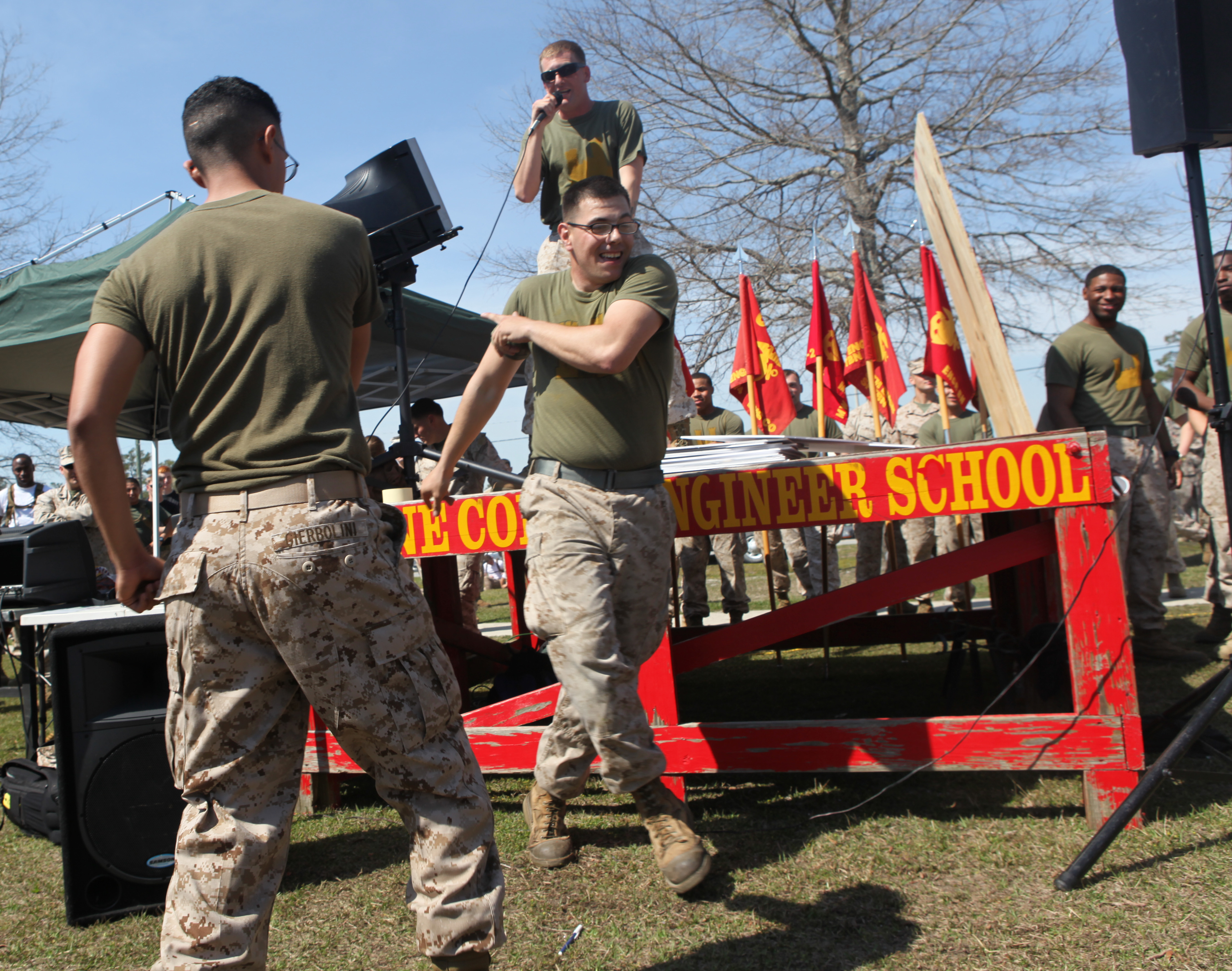 8f46ef2c7 Download Hi-Res Photo Download Share Photo Details Details. Groups of  Marines battle it out during a rope tug during the annual Saint Patrick's  Day