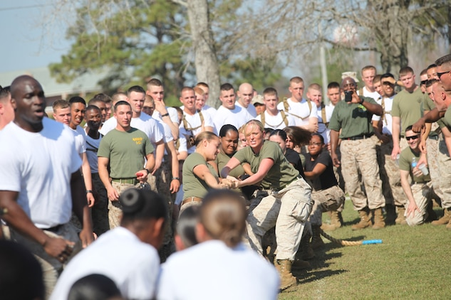 98fe10760 Groups of Marines battle it out during a rope tug during the annual Saint  Patrick's Day