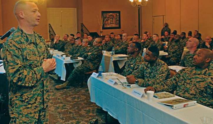 1Master Gunnery Sgt. Phillip Bush briefs staff noncommissioned officers assigned to Marine Corps Logistics Command on suicide prevention during a SNCO Leadership Seminar at Naval Station Mayport, Fla., Feb. 27 - March 2.