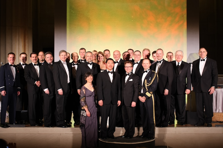 Dave Madden (second row, center), director of the Military Satellite Communications Systems Directorate,  poses with all 2012 Aviation Week Laureate Award recipients during the 55th Annual Laureate Awards ceremony, held March 7, in Washington D.C.