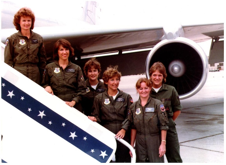 Capt. Marilyn Koon (left), the first female pilot in the Air National Guard, also led the first Air Guard all-female refueling mission in 1984. Her team included (from left) Capt. Carolyn Donohoe, 2nd lt. Janice McBreen, 2nd Lt. Gabrielle Thorp, Staff Sgt. Sharon Johnson and Airman 1st Class Patricia Bourdlais. (Courtesy Photo)