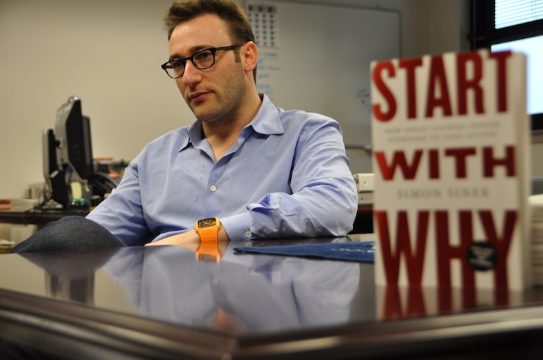 "Simon Sinek, motivational speaker and author of ""Start with Why,"" finishes a two-day tour of Travis Air Force Base Tuesday after speaking with Airmen about inspiration and leadership skills. (U.S. Air Force photo/Chief Master Sgt. John Evalle)"