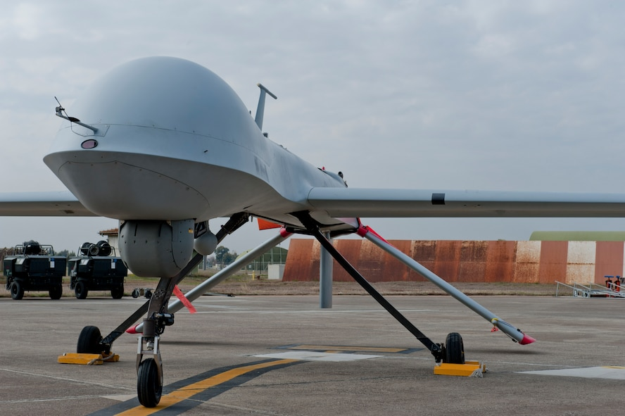 An MQ-1B Predator from the 414th Expeditionary Reconnaissance Squadron sits on the flightline Feb. 14, 2012, at Incirlik Air Base, Turkey. Reactivated Nov. 23, 2011, the 414th ERS dates back to World War II when it was known as the 414th Bombardment Squadron. (U.S. Air Force photo by Senior Airman Anthony Sanchelli/Released)