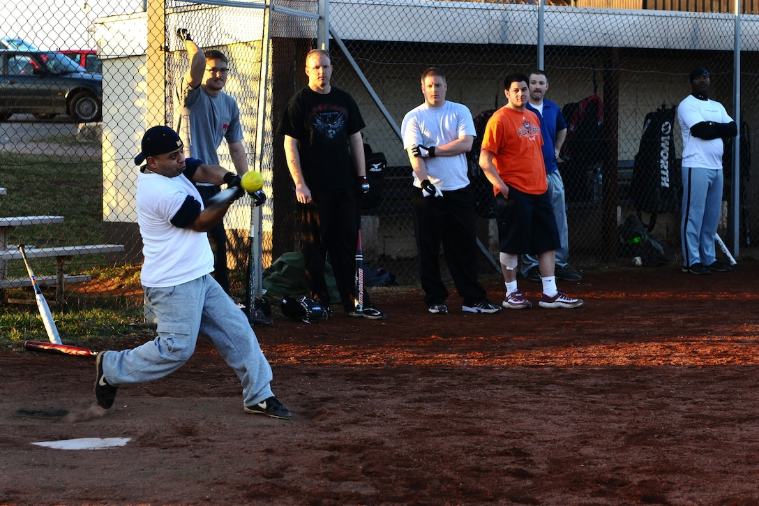 SPANGDAHLEM AIR BASE, Germany – Ignacio Rosado, 52nd Equipment Maintenance Squadron, hits a softball during Spangdahlem men's varsity softball tryouts held on Field 1 here March 15. The tryouts took place from March 12-16 and allowed men affiliated with the base an opportunity to try out for the team. The team will compete against other military service teams from throughout Europe during the 2012 season. (U.S. Air Force photo by Airman 1st Class Dillon Davis/Released)