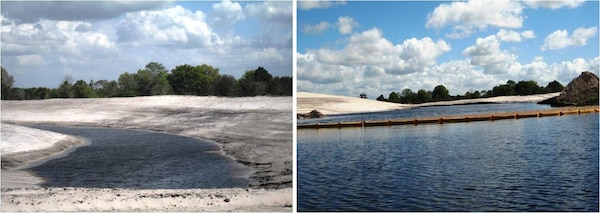 (Left) Excavated oxbow, prior to plug being removed along Reach 3.  (Photo by Jenn Domashevich, USACE); (Right) Water flowing into the oxbow after the earthern plug was removed March 13, 2012.