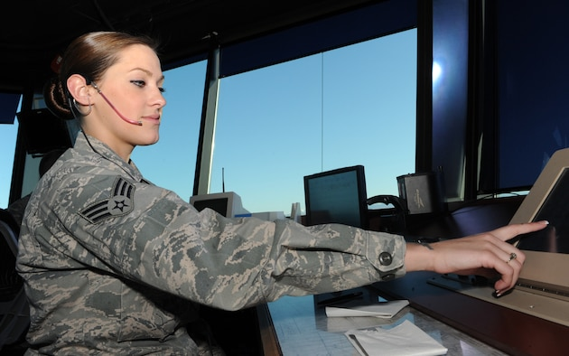 Default Cutline U.S. Air Force Senior Airman Jennifer Bradshaw, 366th Operations Support Squadron air traffic controller, controls the skies while on duty March 7, 2012, at Mountain Home Air Force Base, Idaho. Air traffic controllers rely on regular training and aircraft operations to stay quialified. (U.S. Air Force photo/Airman 1st Class Shane M. Phipps)
