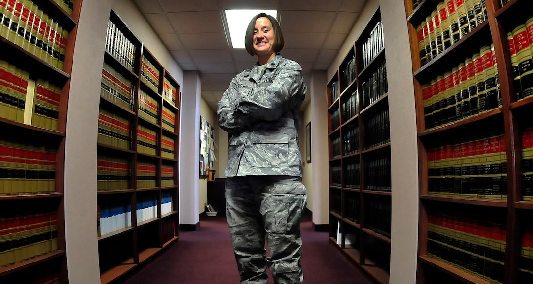Lt. Col Shannon Sherwin is the 354th Fighter Wing staff judge advocate. As a female field grade officer, she has overcome obstacles that have helped her become an asset to the Air Force while remaining true to herself. (U.S. Air Force photo/Airman 1st Class Zachary Perras)