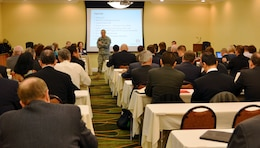 WINCHESTER, Va. — Col. Jon Christensen, U.S. Army Corps of Engineers Middle East District commander, comes contractors representing the USCENTCOM MATOC holding firms to the post award conference.
