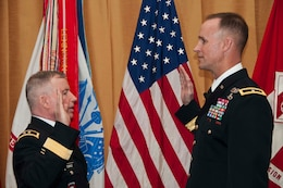 "SAN FRANCISCO — Maj. Gen. Merdith ""Bo"" Temple, Acting U.S. Army Chief of Engineers, promoted South Pacific Division Commander Col. Michael C. Wehr to the rank of Brigadier General, March 15, 2012 in a ceremony at the San Francisco War Memorial Veterans Building."