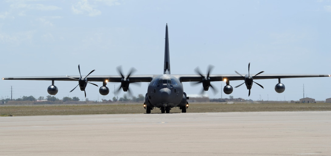 A new MC-130J Commando II taxis on the flightline at Cannon Air Force Base, N.M., Sept. 29, 2011. The aircraft was delivered to Cannon by Lt. Gen. Eric Fiel, Air Force Special Operations Command commander, and Brig. Gen. Stephen Clark, AFSOC director of plans, programs, requirements and assignments. (U.S. Air Force photo/Senior Airman James Bell)