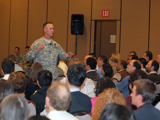 More than 300 Los Angeles District employees gathered for their first town hall meeting with South Pacific Division Commander Col. Mike Wehr.