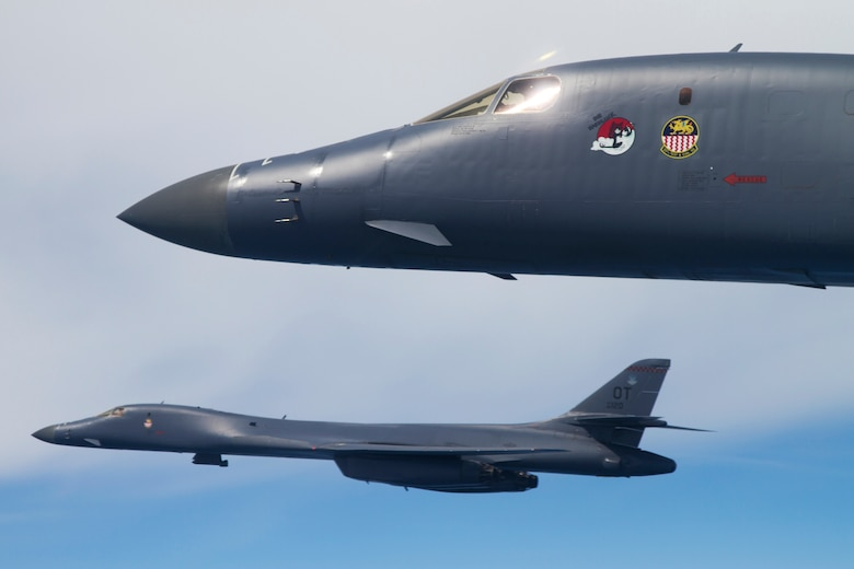 B-1B Lancers from the 337th Test and Evaluation Squadron soar over the Gulf of Mexico during a test mission near Eglin Air Force Base, Fla.  The 337th is a geographically separated unit of the 53rd Wing, headquartered at Eglin.  The 337th is responsible for operational testing of all B-1 defensive/offensive systems and weapons upgrades.  (Courtesy photo/Jake Melampy)