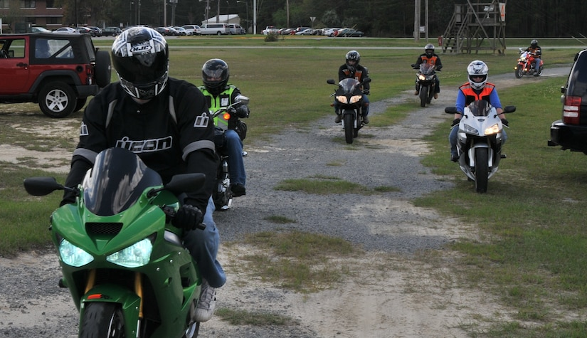 More than 200 Airmen, Sailors, civilians and dependents from Joint Base Charleston participated in the 2012 Joint Base Charleston Motorcycle Safety Event March 23 and 24 throughout the Lowcountry. After a motorcycle safety brief, motorcyclist attended the Seventh Annual Palmetto Police Motorcycle Rodeo, participated in a motorcycle safety course and a mentorship ride to Short Stay, the Navy's Outdoor Recreation Area. The event provided motorcyclists with information about safe riding, motorcycle laws in South Carolina, military regulations and proper riding equipment. (U.S. Air Force photo/Airman 1st Class Jared Trimarchi)