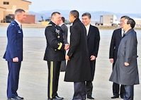 Gen. James Thurman, the U.S. Forces Korea commander, greets President Barack Obama at Osan Air Base, South Korea, March 25, 2012. The president flew to the base on Air Force One on his way to the Nuclear Security Summit in Seoul, South Korea. (U.S. Air Force photo/Senior Airman Adam Grant)
