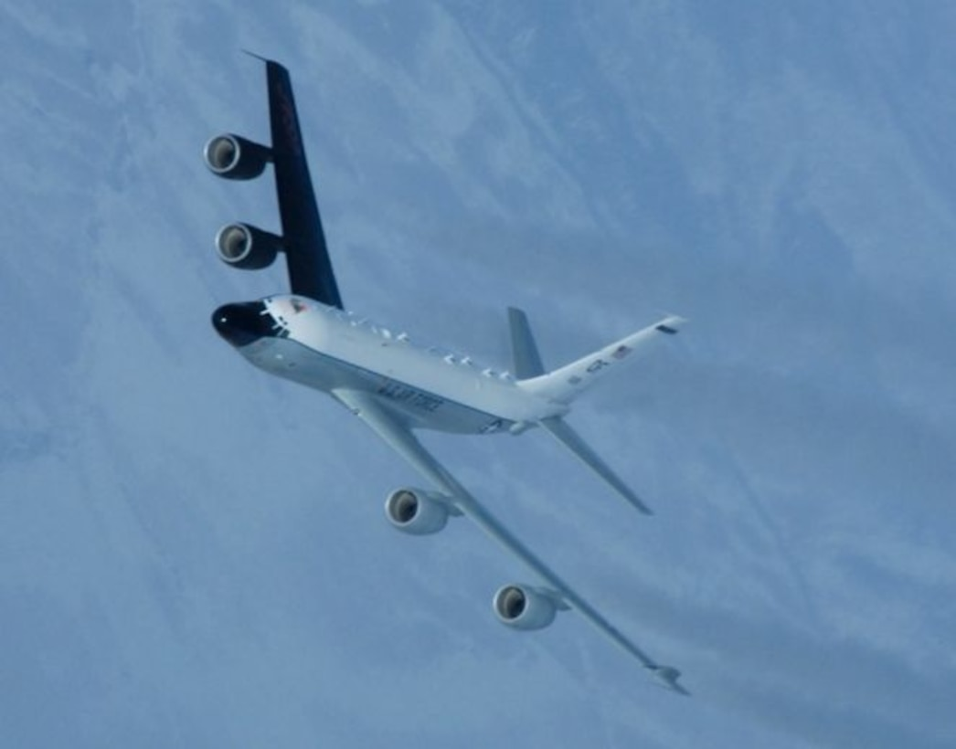 The RC-135S Cobra Ball is a rapidly deployable aircraft which flies Joint Chiefs of Staff-directed missions of national priority to collect optical and electronic data on ballistic targets.
