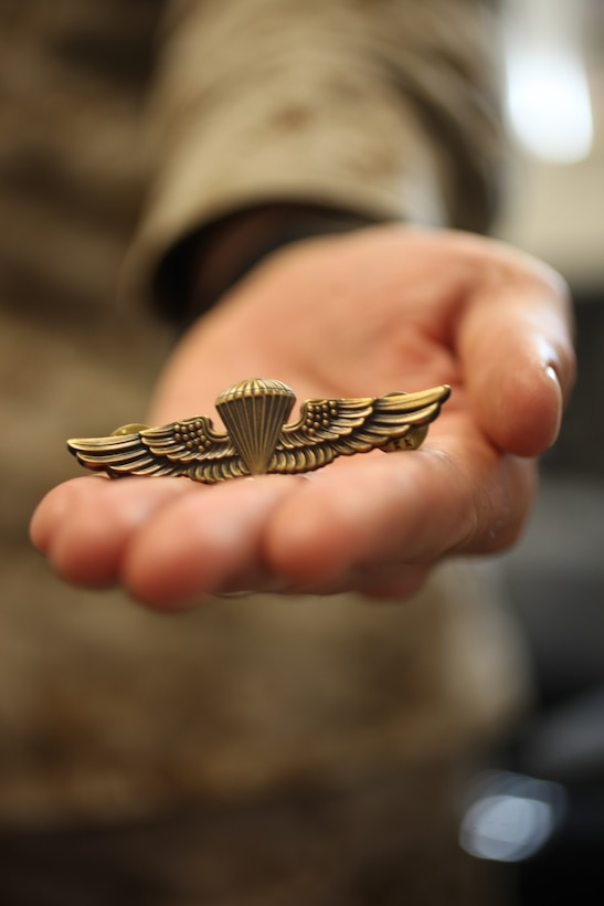 Capt. Andrew R. Jones, the commanding officer for Headquarters and Service Company, 2nd Reconnaissance Battalion, 2nd Marine Division, recently earned his Navy and Marine Corps Parachutist Insignia, commonly referred to as gold jump wings, when he and Marines with Company C, 2nd Reconnaissance Battalion, conducted jump operations from March 12 - 16. Jones took this opportunity to get his gold jump wings before he executes permanent change of station orders to Company B, Anti-Terrorism Battalion, 4th Marine Division, this summer. He made getting his gold jump wings a career goal.