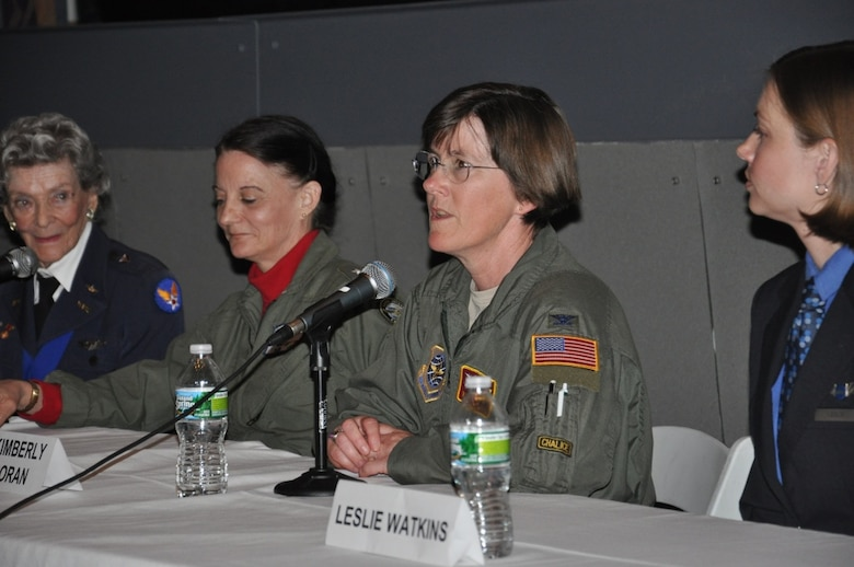 "JOINT BASE McGUIRE-DIX-LAKEHURST, N.J. -- Col. Kimberly Corcoran, U.S. Air Force Expeditionary Center vice commander, talks to Girl Scout troops during a ""Women Pilots"" panel discussion at the Intrepid Sea, Air and Space museum in New York City, March 24. (From left to right) Bernice ""Bee"" Falk Haydu, a former Women Airforce Service Pilot during World War II; Rear Adm. Wendi Carpenter, president of the State College of New York Maritime College; and Leslie Watkins, commercial airline and instructor pilot for Jet Blue; were also panel members for the event hosted in honor of Women's History Month. (U.S. Air Force photo by 1st Lt. Sybil Taunton, U.S. Air Force Expeditionary Center public affairs)"