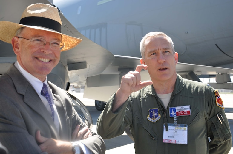 SANTIAGO, Chile – The U.S. Ambassador to Chile, Alejandro D. Wolff, speaks with Col. John Kane, 149th Fighter Wing commander from Lackland AFB, Texas, at the FIDAE air show in Santiago, Chile, March 27. The U.S. Air Force was invited to FIDAE by the Chilean air force; the two nations are inherently linked by cultural, historical and economic ties, and they share a strong partnership which enhances security in the region. (U.S. Air Force photo/Master Sgt. Kelly Ogden)
