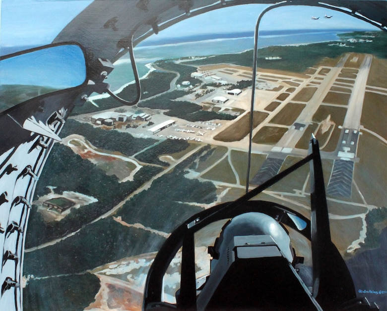 This image, an original work by Clinton Helm's, Air Force Art Program volunteer, is a painting displaying the inside of the T-6 trainer at the Naval Air Station at Pensacola, Fla. (Courtesy photo by Clinton Helms)