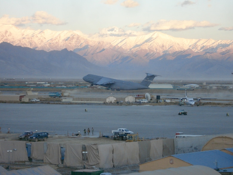 A C-5 Galaxy takes off from a runway at Bagram Air Base, Afghanistan. In recent years, the 22nd Airlift Squadron has participated in missions in Afghanistan supporting Operation Enduring Freedom. (Courtesy photo)