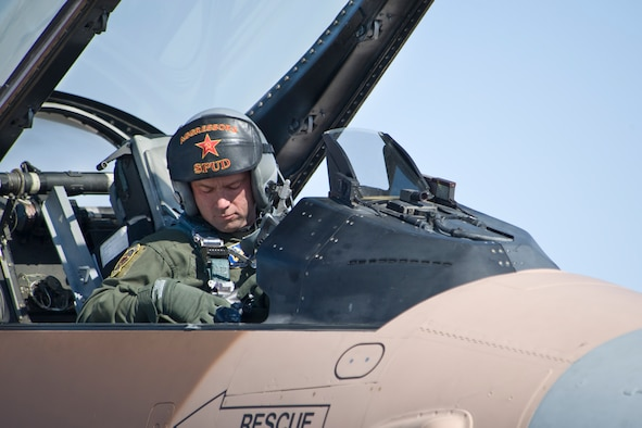 Lt. Col. Dean Caldwell, 706th Fighter Squadron commander, prepares for takeoff to join the Red Flag exercise here Mar. 2. Caldwell is an Aggressor pilot, responsible for simulating enemy air during Red Flag exercises to train flying forces on how to combat potential threats. (U.S. Air Force photo/Larry Crespo)
