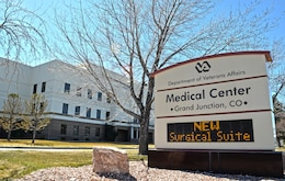 GRAND JUNCTION, Colo. — The new surgical floor addition is highlighted on the marquee of the Grand Junction Department of Veterans Affairs Medical Center here, Mar. 23, 2012. The U.S. Army Corps of Engineers Sacramento District oversaw construction of the $13 million addition.