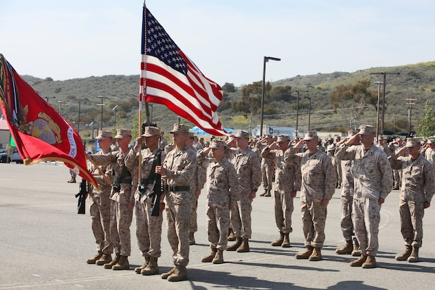 Marines from 3rd Battalion, 5th Marine Regiment, salute Maj. Gen. Ronald L. Bailey, commanding general, 1st Marine Division, during a award ceremony at San Mateo, Calif., March 30. Sgt. Ryan T. Sotelo, a San Mateo, Calif. native, was awarded the Silver Star for actions he took as a squad leader with Kilo Company, 3rd Battalion, 5th Marine Regiment while deployed to Sangin District, Afghanistan.