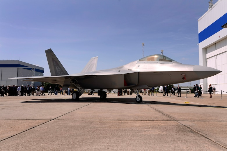 The last production F-22 Raptor sits on the ramp outside the Lockheed production facility at Lockheed Martin Aeronautics Company, Marietta, Ga., May 2. The last production aircraft, number 4195, was turned over to the Air Force in a formal ceremony and was flown to Joint Base Elmendorf-Richardson, Alaska, by Lt. Col. Paul Moga, 525th Fighter Squadron commander. (U.S. Air Force photo/ Brad Fallin)