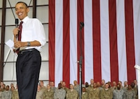 President Barack Obama visited Bagram Airfield, Afghanistan, May 1, 2012, to greet Soldiers, Sailors, Airmen and Marines on the anniversary of the death of al-Qaida leader Osama bin Laden. Obama told the crowd that he is proud of them and that many of the positive events in Afghanistan occurred in part because of the efforts of the U.S. armed services. (U.S. Air Force photo/Airman 1st Class Ericka Engblom)