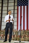 President Barack Obama visits Bagram Airfield, Afghanistan, May 1, 2012, to greet Soldiers, Sailors, Airmen and Marines on the anniversary of the death of al-Qaida leader Osama bin Laden. Obama told the crowd that he is proud of them and that many of the positive events in Afghanistan occurred in part because of the efforts of the U.S. armed services. (U.S. Air Force photo/Airman 1st Class Ericka Engblom)