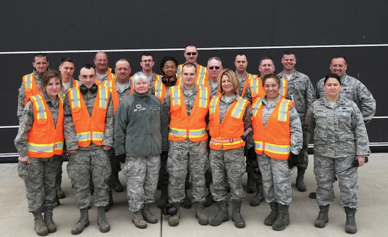 Pictured Left to Right (Back), Tech. Sgt. Andrew Kramer, Master Sgt. Ricky Johnston, Airman 1st Class Alex Bond, Airman 1st Class Eddy Jenks, Airman 1st Class Charles Eyster, Master Sgt. Robert Parks, Master Sgt. Steve Waltzer, (Middle Row) Airman 1st Class Pete Modert, Staff Sgt. Timothy DePue, Airman 1st Class Dinikqua Hilliard, Staff Sgt. Sean Savage, Master Sgt. Jeffrey Rumel, Maj. Wendy Burris, (Front Row) Airman 1st Class Kera Noe, Airman 1st Class Corey Ross, Col. Billie J. Faust, Airman 1st Class Joshua Montgomery, Airman 1st Class Andrea Barber, Maj. Estrella Rodgers, (Not Pictured) Senior Master Sgt. Charles Hatch, Senior Airman Laurence Newnum, Airman 1st Class Brandon Kelso, Senior Airman Joseph Smith, Airman 1st Class William Bailey, Airman 1st Class Nicole May, Airman 1st Class Danny Lewis, Staff Sgt. Stevan Stoutenburg, Staff Sgt. Harold Wasson, Airman 1st Class Jordan Kuhl, Airman 1st Class Andrew Seguin, Airman 1st Class Mathew Cole, Senior Airman Robert Stoutenburg, Staff Sgt. Jeff Tucker , Staff Sgt. Martin Birchmeier, Master Sgt. Pam Lucas, Staff Sgt. Ezekiel Wieland, Senior Master Sgt. Mike Carlson, Master Sgt. Dave Moessinger, Tech. Sgt. Troy Nault, Tech. Sgt. Brian Michael, Staff Sgt. Joey Kidder, Tech. Sgt. Garrett Kozminske, Master Sgt. Todd Burson, Tech. Sgt. Matt Bouwkamp, Master Sgt. Steve Norris, Tech. Sgt. Wes Becker, Senior Airman Lloyd Corston, Tech. Sgt. Marc Hall, Staff Sgt. Isaac Laroy, Staff Sgt. Pete Sorensen, Staff Sgt. Brandon Turner, Security Forces Personnel, (Donations provided by the Red Cross, Club 64, and Family Support) Ms. Robin Rogers, Joy Neulieb, Daryl Herrman, Steve Peck, Sandy Peck, Caitlin Barrington-Reed, Joyce Hanger, Tiffany Maddux, Carol O'Connell, Kim VanNortwick