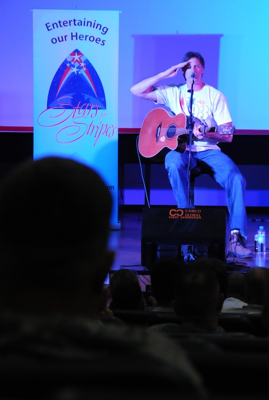 Country music singer and songwriter, Darryl Worley, performs for members of the 386th Air Expeditionary Wing in an undisclosed location, Southwest Asia, April, 30, 2012. Worley was performing as part of a tour sponsored by Armed Forces Entertainment to help boost morale of deployed military members. (U.S. Air Force photo by Staff Sgt. James Lieth/Released)