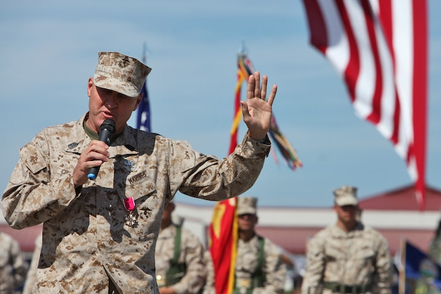 Sgt. Maj. Richard D. Cunningham speaks to his family and friends during his retirement ceremony aboard Camp Pendleton, Calif., May 4. Cunningham retired after 29 years of faithful service to the Marine Corps. (U.S. Marine Corps photo by Lance Cpl. Timothy Childers)