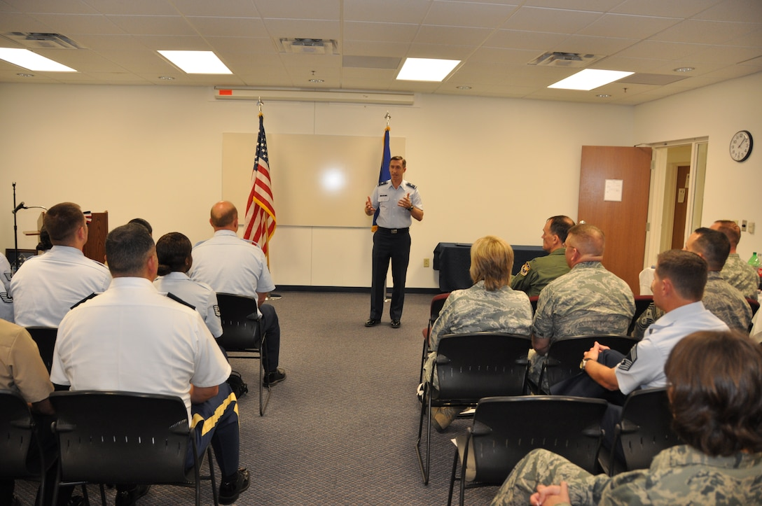 Brig. Gen. Ronald B. Miller, 301st Fighter Wing commander, speaks during a joint noncommissioned officer leadership development course graduation Friday, May 4. There were 22 total service members from the Air Force, Army, and Navy who participated. This was the first joint class to be held at the wing and the largest multi-branch class to be held in the Air Force Reserve Command. (U.S. Air Force photo/SrA Melissa Harvey)