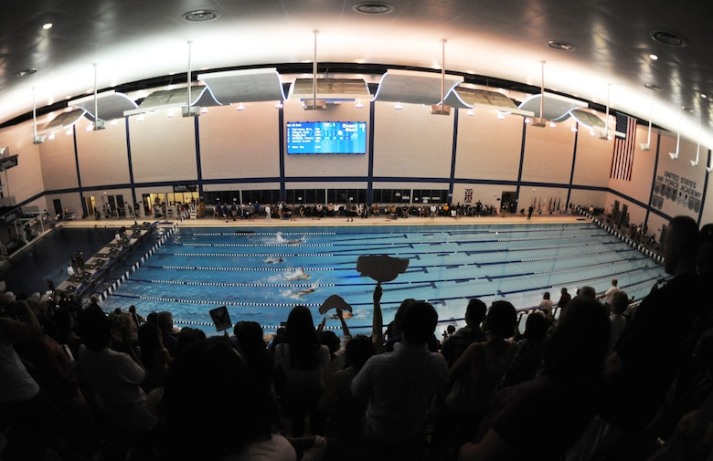 The crowd cheer as athletes take part in a swimming competition during Warrior Games 2012 at the U.S. Air Force Academy in Colorado Springs, Colo., May 5, 2012. (U.S. Air Force photo by Val Gempis/Released)