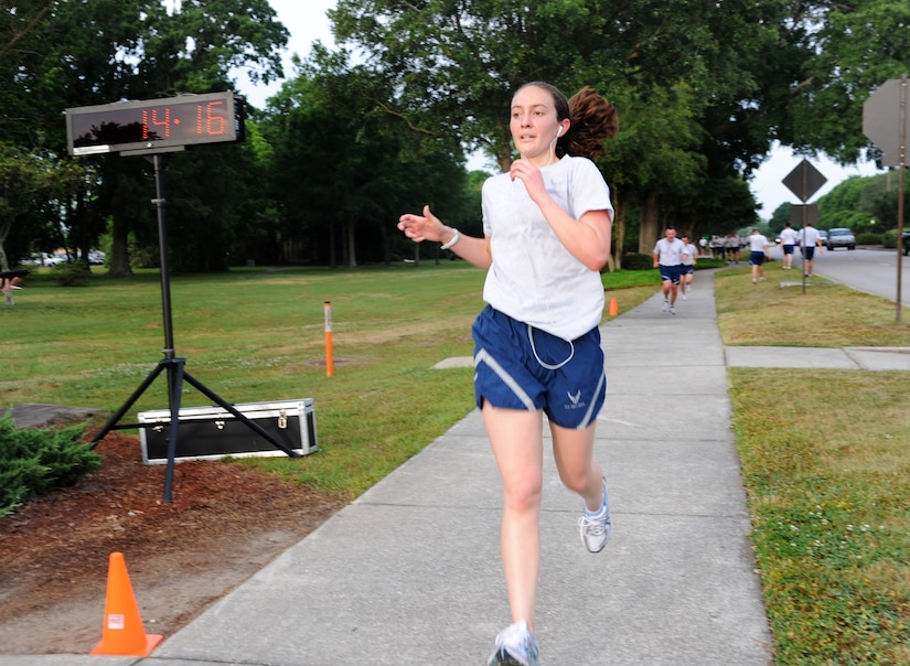 1st Lt. Marie Harnly was the fastest female runner with a time of 14:16 during the 1.96 mile Commander's Run at Joint Base Charleston - Air Base May 4. Harnly is from the 628th Civil Engineer Squadron. (U.S. Air Force photo/Airman 1st Class Ashlee Galloway)