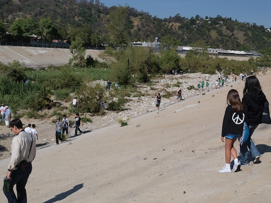 In all 4,000 volunteers spread out over 15 community sites to remove tons of debris from the river's channel during the Friends of the LA River's 23rd Annual La Gran Limpieza: The Great Los Angeles River CleanUp on April 28.