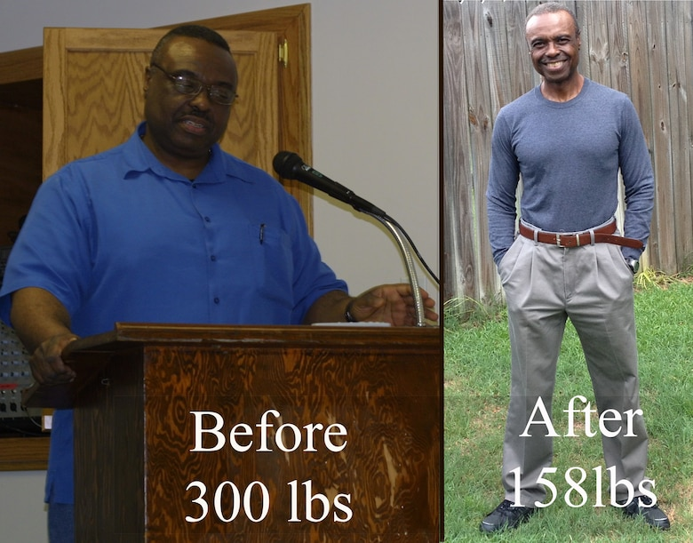 A before and after picture shows the extreme weight loss of William Fowler, 23d Civil Engineer Squadron environmental compliance supervisor. Fowler lost almost 150lbs with a new outlook on exercise and a healthier diet. (courtesy photo)