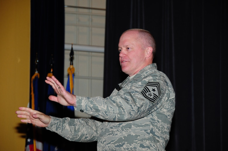 Chief Master Sgt. Christopher Muncy pushed for the 107th members to tell their story on what they are doing in the Air National Guard. May 9, 2012  (U.S.Air Force Photo/Senior Master Sgt. Stephan Kovacs)