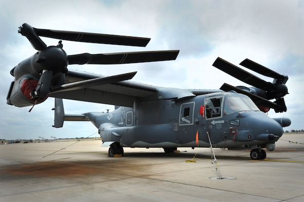 "A CV-22 Osprey is chained to the flighline in preparation for a tornado exercise at Cannon Air Force Base, N.M., May 10, 2012.  The Osprey belongs to the 20th Special Operations Squadron – the ""Green Hornets"".  (U.S. Air Force photo by Senior Airman Jette Carr)"