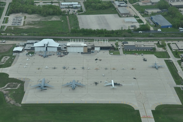 An aerial view of the 128th Air Refueling Wing, Milwaukee, as members of the general public are given the chance to tour military aircraft, talk with military personal, and look at stands set up inside of a hangar on 12 May, 2012. The military display ran from May 12th - May 13th as an opening event for the 2012 Armed Forces Week experience. U.S. Air Force photo by Staff Sgt. Jeremy Wilson