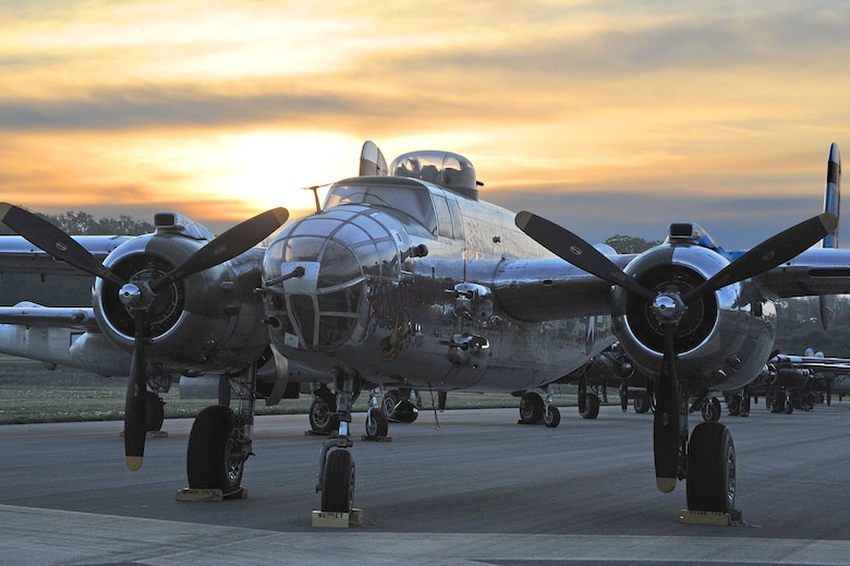 DAYTON, Ohio (04/2012) -- Twenty B-25 bombers landed at the National Museum of the U.S. Air Force on April 17, 2012, as part of the Doolittle Raiders 70th Anniversary Reunion. (U.S. Air Force photo by Ben Strasser)