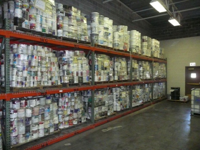 "BEFORE -- Thousand of cans of leftover or unwanted paint are sorted and shelved at Visions Recycling, Inc., located at the former McClellan Air Force Base, prior to blending.  ""We can make any color,"" says owner Jerry Noel, a former painting contractor.  (Courtesy photo)"