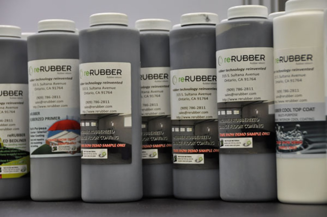 At reRubber, 100 percent of each tire is recycled.  Metal parts are removed and the rubber is ground into fine powder, which is used to create sealant and coating products.  (Photo by Scott Johnston)